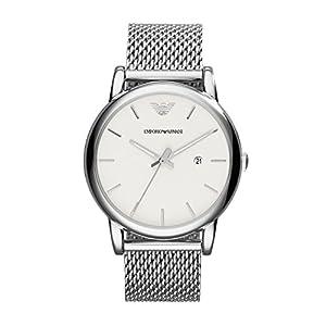 Emporio Armani - Reloj de cuarzo para hombre, correa de acero inoxidable color plateado de Emporio Armani