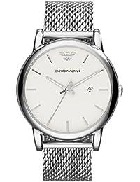Emporio Armani  - Reloj de cuarzo para hombre, correa de acero inoxidable color plateado