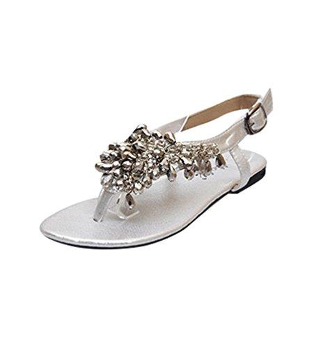 NiSeng Donne Moda Perlina Bohemia Stile Peep-Toe Estate Piatto Sandali Scarpe Boemia Scarpe Piatto Spiaggia Argento