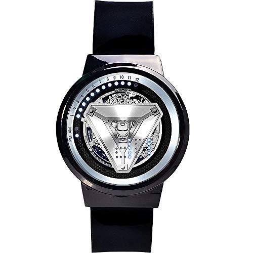 ALOIW Herren-LED-Uhr Kinder Jungen Und Mädchen Iron Man/Marvel Pop Farbe Uhr Und Silikon-Uhrenarmband A (Ironman-uhr Für Kinder)