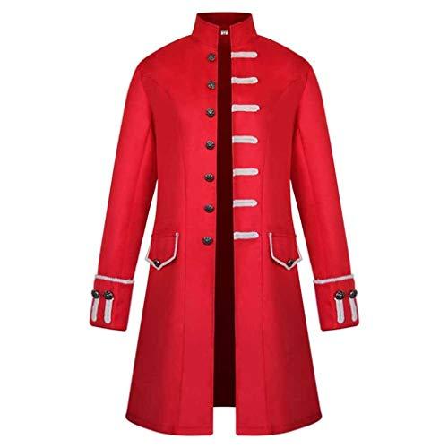 Amphia - Herren Frack Steampunk Gothic Vintage Kostüm Viktorianisch Mittellang Stehkragen Mantel, Männlich Winter Warm Vintage Mantel Jacke Mantel Outwear Knöpfe Mantel(rot,XXL) (Quick Steampunk Kostüm)