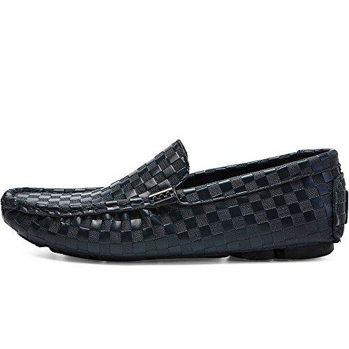 BEVEMON Herren Casual Bootsschuh Slip on Leder Loafer Leichte Breathable Fashion Sneakers (39 EU, Blau) (Loafer Leder-leichte)