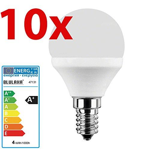 Energie Sparen 4 Licht (10 Stück LED Lampe E14 Tropfenlampe 4 Watt 827 warmweiß)