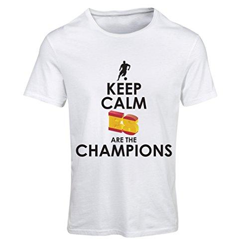 Maglietta donna gli spagnoli sono i campioni, il campionato di russia il 2018, la coppa mondiale - la squadra di calcio di camicia di ammiratore della spagna (medium bianco multicolore)