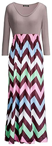 Jeansian Femmes Fashion Sexy Lady Robe Manches Longues Stripe Impression V-Neck Womens Linen Long Dress WHS028 green
