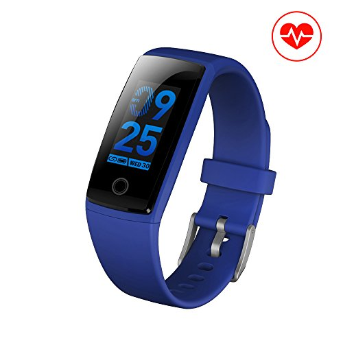 Fitness Tracker, JC Beauty NEW Technology Smart Watch Sport Band IP67 Waterproof with PHYSIOLOGICAL PERIOD REMINDER Heart Rate Monitor Smart Bracelet Wristbands Step Calories Counter (Blue)