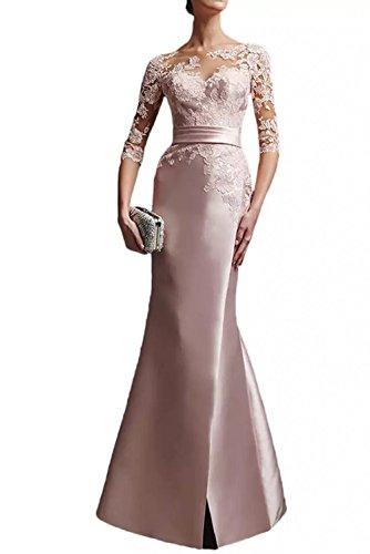 Charmant Damen Glamour Rosa Satin Spitze Langarm Abendkleider Ballkleider Partykleider Meerjungfrau Lang -42 Rosa - Glamour Satin Brautkleid