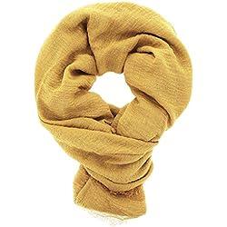 KARL LOVEN Pañuelo Mujer Bufanda Arrugada Fular Pashmina Cuello, Amarillo mostaza, 1m90
