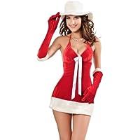 Sexy lingerie Mrs Miss Christmas Velvet Santa Fancy Dress Costume Outfit Hat