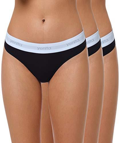 Yenita 3er Set Damen Underwear Modern-Sports-Collection, String, Schwarz, Gr. M