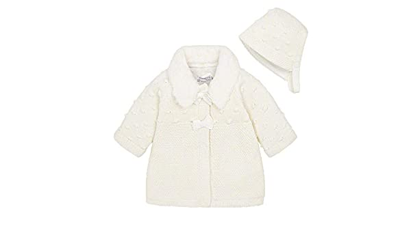 c2b46465e Mayoral Newborn Girls Knitted Coat   Bonnet Cream 2-4 months  Amazon ...