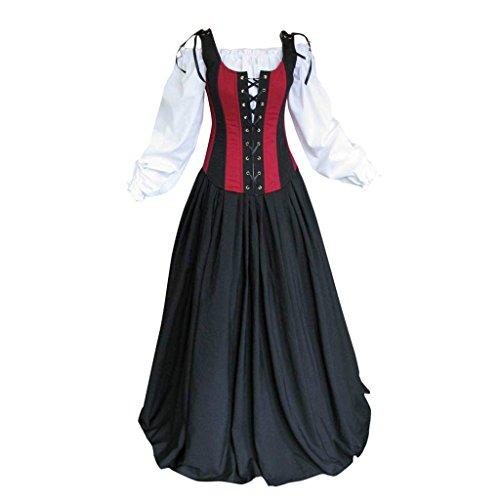 Maid Mädchen Kostüme Piraten (Cosplayitem Damen Mittelalterlichen Kleid Piraten-Kostüm Gothic viktorianischen Kostüm Dirndl)