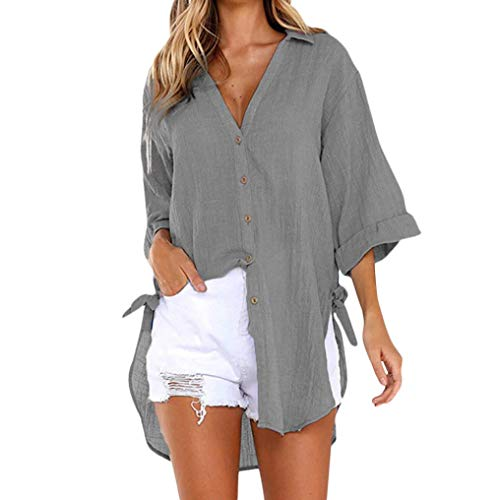 iHENGH Damen Tops, Women Fashion Lockere Taste langes Hemd Kleid Baumwolle Damen Casual Tops T-Shirt Bluse (EU-36/CN-M, Grau) -