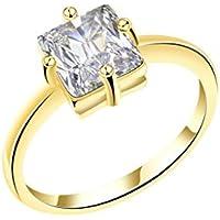 Gnzoe Gioielli,Placcato Oro Cushion Tagliare Cubic Zirconia Matrimonio Anelli Anello per (Primo Uomo A Piedi Luna)