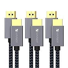 IVANKY DisplayPort auf HDMI Kabel 2M, DP auf HDMI Kabel 3er-Pack, DisplayPort auf HDMI Kabel 1080P für HDTV, Monitor, Projektor, Laptop, PC, AMD, NVIDIA und mehr - Grau