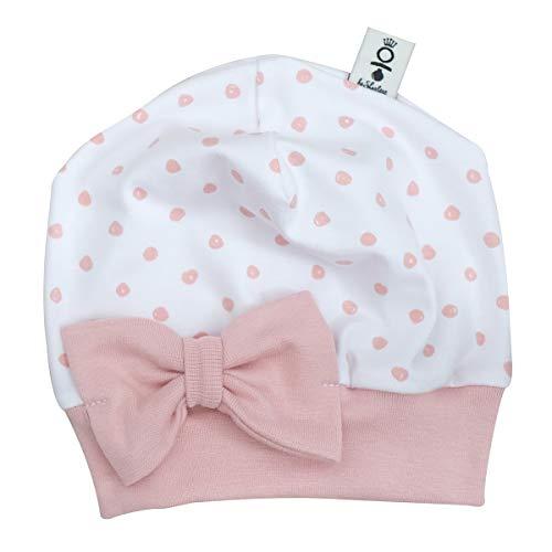 Sharlene Mütze Schleife Rose Punkte Baby Mütze Beanie Mitwachsgrößen handgefertigt in Deutschland (38-44)