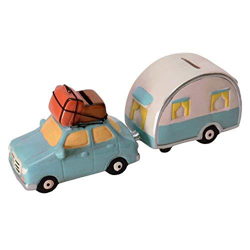 Unbekannt Auto mit Wohnwagen Spardosen im 2er Set - Auto mit Wohnanhänger Sparschwein Sparbüchse