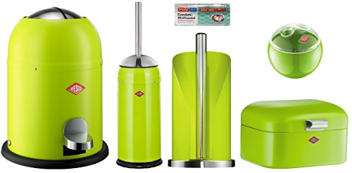 Wesco 5er Bad-Set limegreen mit 40 Müllbeutel, Single Master Mülleimer + Toilettenbürste + Rollenhalter + Mini Grandy + Mini Ball