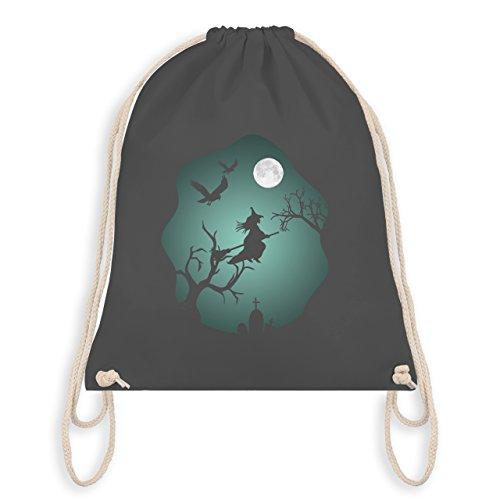 Halloween - Hexe Mond Grusel Grün - Unisize - Dunkelgrau - WM110 - Turnbeutel & Gym Bag