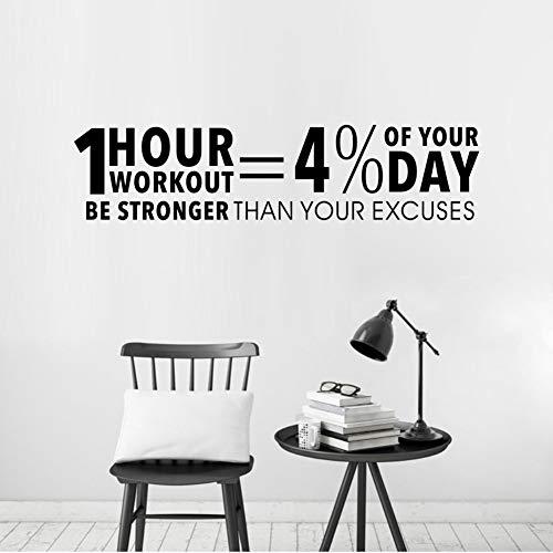 Workout inspirierende Zitate Dekor Aufkleber Gym Vinyl Wall Decal Fitness Motivation Schriftzug Wall Art f1 13x58cm