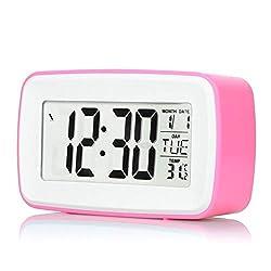 Wecker Smart Beschreibbare Touch-Mute Smart Clock Großer Bildschirm Lucent Sensor Musik Naturschwer Klingelton Elektronischer Wecker Schöne Optik (Farbe : Rot)