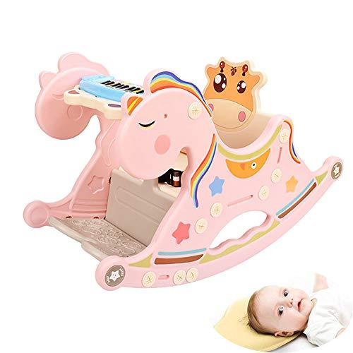 WDXIN Baby Balancín Agitar El Caballo Silla Mecedora Dos en uno La Musica Madera El Caballo Juguete Regalo Inspira a los niños a equilibrar su potencial,Pink