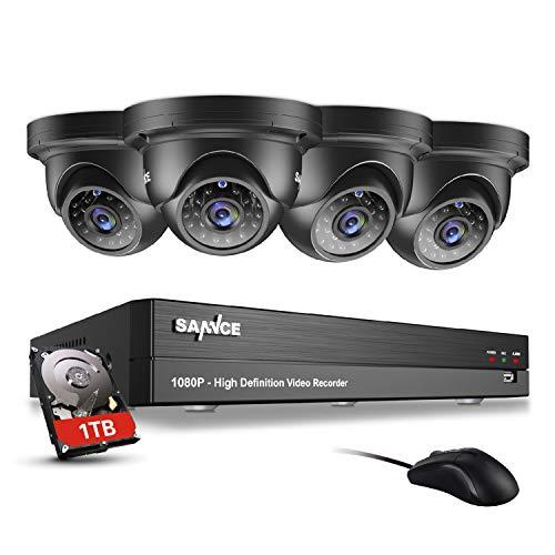 SANNCE 4CH CCTV System DVR Recorder 1TB HDD, 4x1080P Outdoor Wide Angel Weatherproof Surveillance Camera, P2P, Easy Installation, 1080P HD Stream, Motion Alert