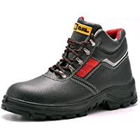Black Hammer Mens Safety Boots Leather S3 SRC Black Steel Toe Cap Work Shoes Ankle 5993