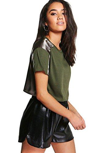 Kaki Femmes petite megan t-shirt court coupe carrée satiné et côtelé Kaki