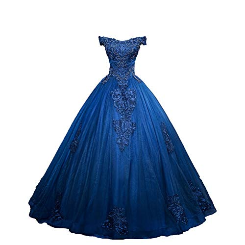 QAQBDBCKL Royal Blau Perlen Rokoko Ballkleid Gericht Medieval Kleid Renaissance-Kleid Königin...