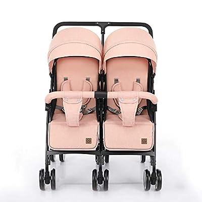 Cochecito de bebé, GUO Gemelo El Carro Doble Ligero Puede Sentarse Y Acostarse Carro De SuspensióN Plegable