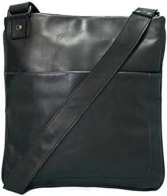 BACCINI bolso mensajero MATTEO - piel genuina negro - bolso bandolera (messenger bag) - M-FLAT - Bolso para notebook para tablet, iPad, 11