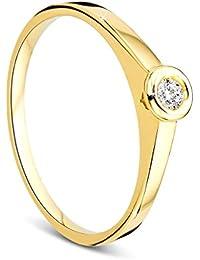 Orovi Ring für Damen Verlobungsring Gold Solitärring Diamantring 9 Karat (375) Brillanten 0.05crt GelbGold mit Diamanten