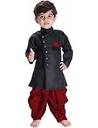 f9ee094aa JBN Creation Boys' Black Cotton Blend Sherwani Style Kurta Set(VASBSW120)
