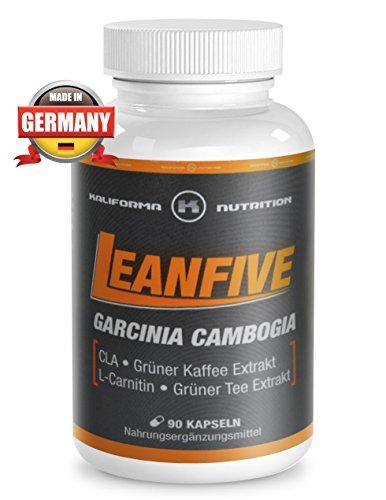 LEANFIVE – Garcinia Cambogia CLA – Hochwertiges Nahrungsergänzungsmittel mit grünem Tee Extrakt und Grünem Kaffee-Extrakt – L-Carnitin – natürliche Stoffe – Hergestellt in Deutschland