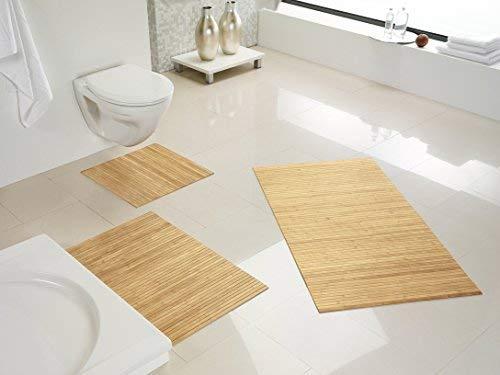 Hygienische, nachhaltige und Rutschfeste Badematte aus Bambus im 3-er Set, Farbe: Pure von DE-Commerce I Fussmatte Badteppich Bambusmatte Duschmatte Badezimmermatte Bamboo Badematte Badvorleger