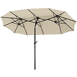 Schneider 746-02 Parasol Salerno Rectangulaire, Naturel, 300 x 150 cm