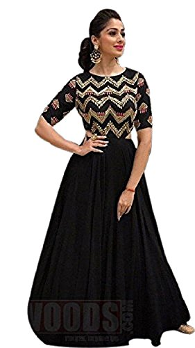 Emroidaried Black Color Stitched Gown In Georgette Fabric.