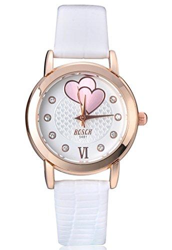 Unendlich U Klassisch Doppel-Herz Strass Damen Armbanduhren Weiß Zifferblatt Weiß PU Leder Armband Wasserdicht Analog Quarz Uhr