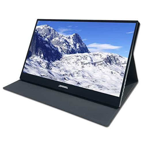 JOHNWILL 15,6 Zoll Typ-C Tragbarer Monitore, Ultra HD 1920 x 1080 IPS-LCD/LED-Anzeige, HDMI/Zwei Typ C (USB C) Zwei USB-Schnittstellen,Spielmonitor