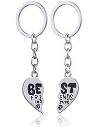 2pcs aleación de plata Mensaje BBF mejores amigos para siempre corazón partido Ronda de Split llavero anillo Set Mujeres Hombres Regalo