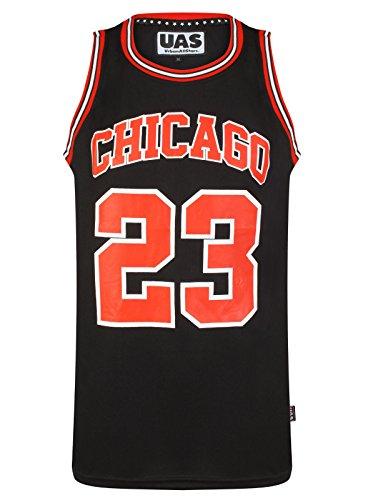 UrbanAllStars - Camiseta sin Mangas para Hombre Estilo Americano de los Estados Unidos de Estilo Miami NY Chicago LA Brookly Chicago Black 23 S