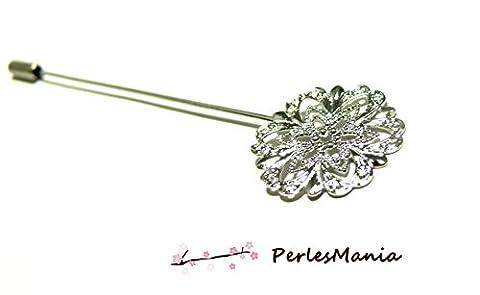 1 Epingle à chapeau ou broche fibule couleur ARGENT PLATINE dentelle fleur