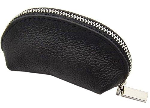 Echt Leder Schlüsseltasche mit 1 Reißverschlussfach Handmade in EU in Schwarz in verschiedenen Designs (Design 1 / Metall-Reißverschluss)