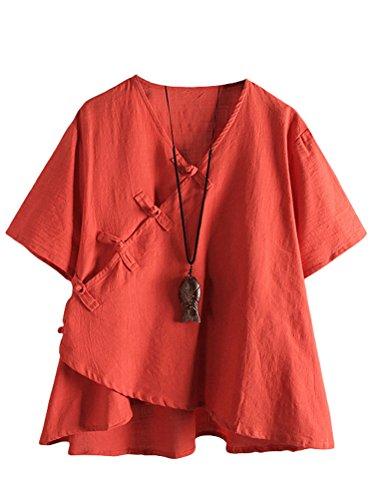 MatchLife Damen Leinen Tops Klassisches Vintage T-Shirt Chinesisch V-Ausschnitt Tunika Bluse Orange Fits EU 42-48
