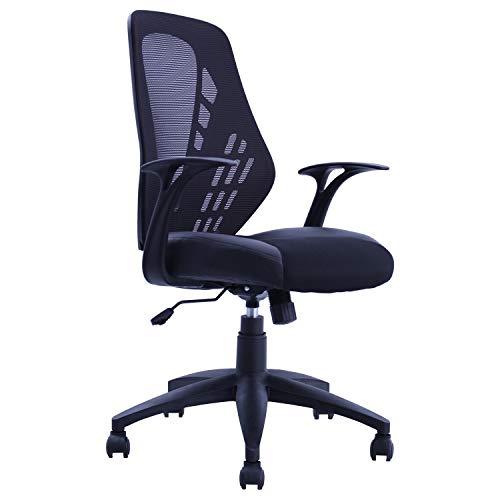 Bürostuhl Chefsessel Ergonomisch Schwarz Netzstoff Kunstleder Wippfunktion Schreibtischstuhl Drehstuhl Gaming Stuhl Duhome 393