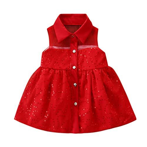 Livoral Mädchen Tutu Neugeborenen Kinderkleidung Ärmellose Pailletten Prinzessin Partykleid(Rot,80)