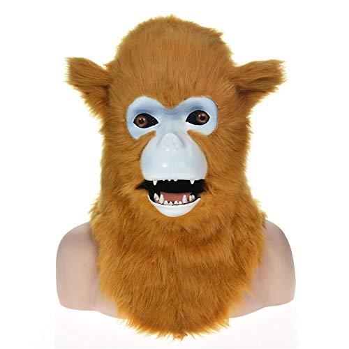 Kostüm Machen Zu Billig Leicht - ManY Viele Kostüm Kopf Maske Erwachsene Kindermakaken-bewegliche Mund-Maske mit dem Pelz verziert for Partei- und Halloween-Spaß (Color : Gold)