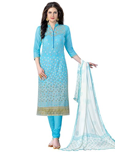 Kanchnar Women's Cotton Dress Material (443D1357_Blue)