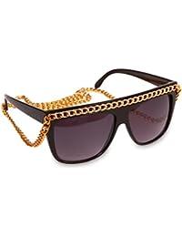 La Modeuse - Lunettes de soleil carréeset grosse monture noire agrémenté d'une longue chaîne dorée permettant de porter les lunettes autour du cou